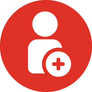 person with plus sign icon