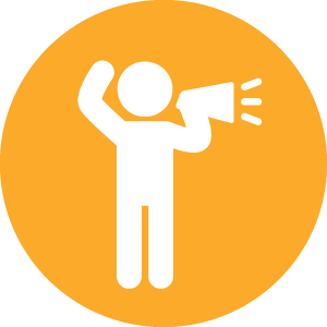 person with bullhorn icon