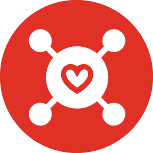 connected heart symbol icon