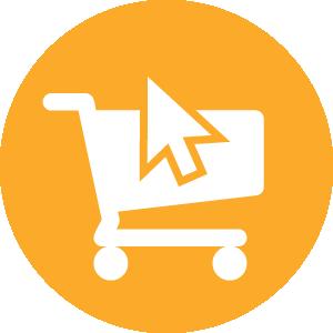 shopping cart and computer cursor icon