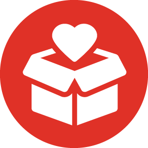 heart symbol coming out of box icon