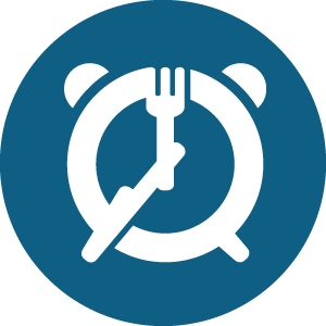 clock with knife and fork icon