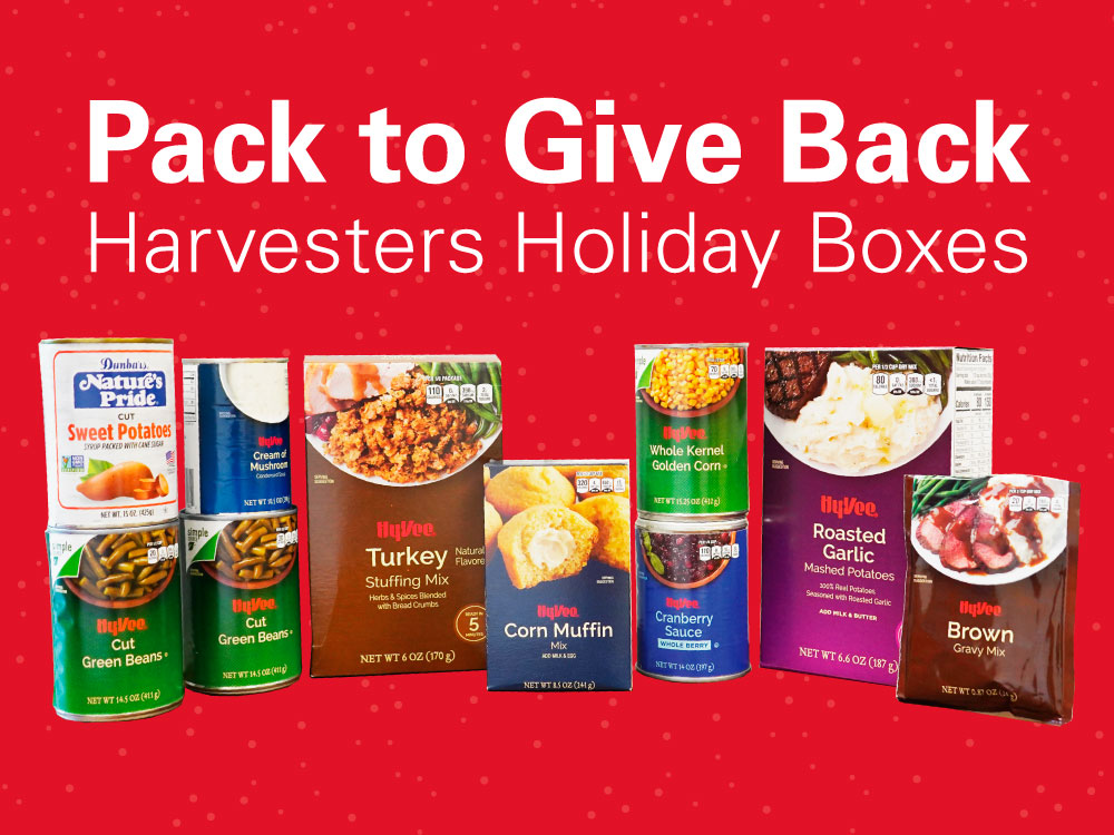 Pack to Give Back Harvesters Holiday Boxes
