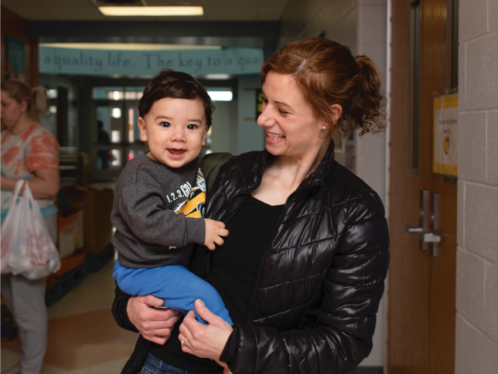 Mother and Son at School Pantry