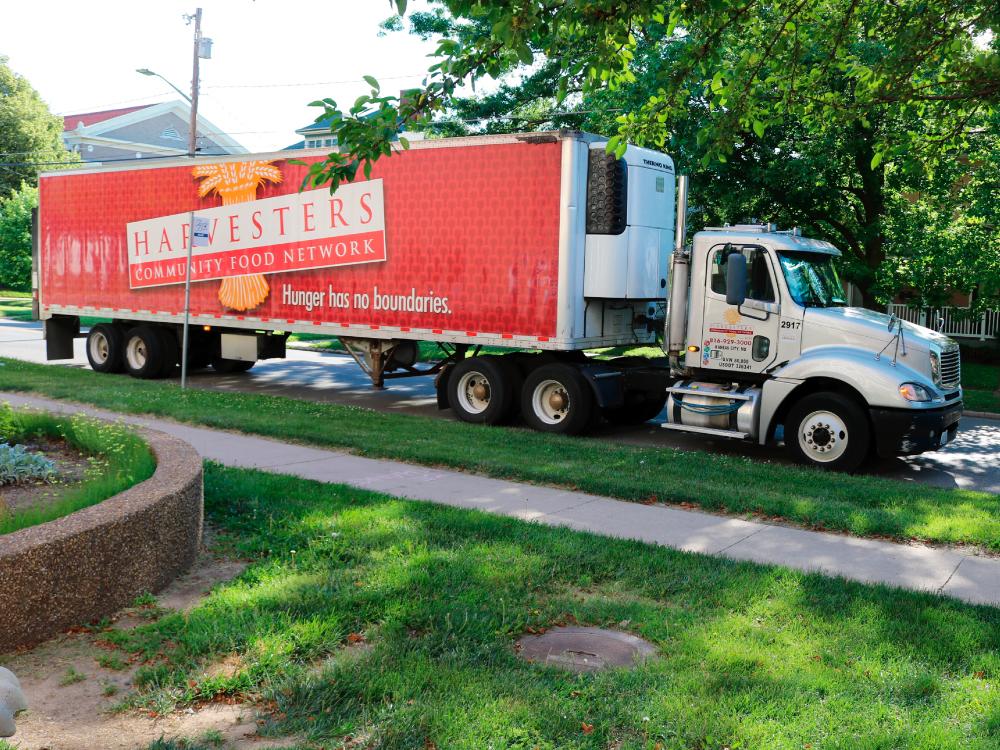 Harvesters Truck Delivering Food